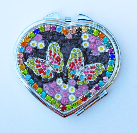 Rhinestone Butterfly, Millefiori  and Onyx Square Double Mirror Compact
