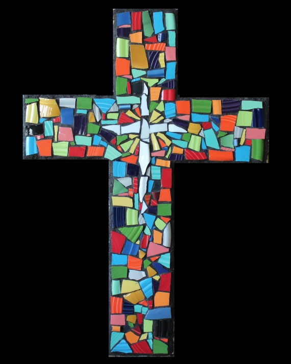 Mosaic China Tile Wall Cross Mosaic Wall Hanging, Religious Decor, Ready to Ship