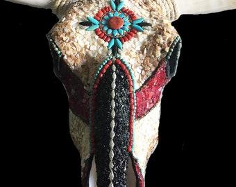 Custom Genuine Southwestern Mosaic Steer Skull