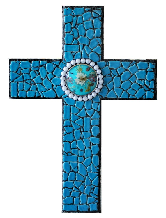 Mosaic Wall Cross in Turquoise Blue with Faux Pearls