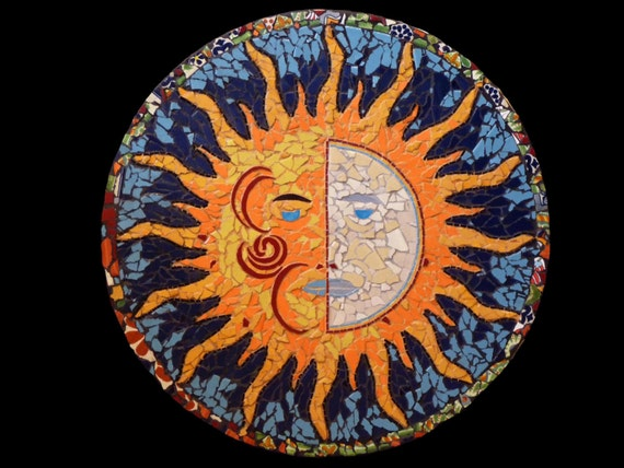 Mosaic Sun Moon Wall Hanging or Table Top Made with Talavera Tiles