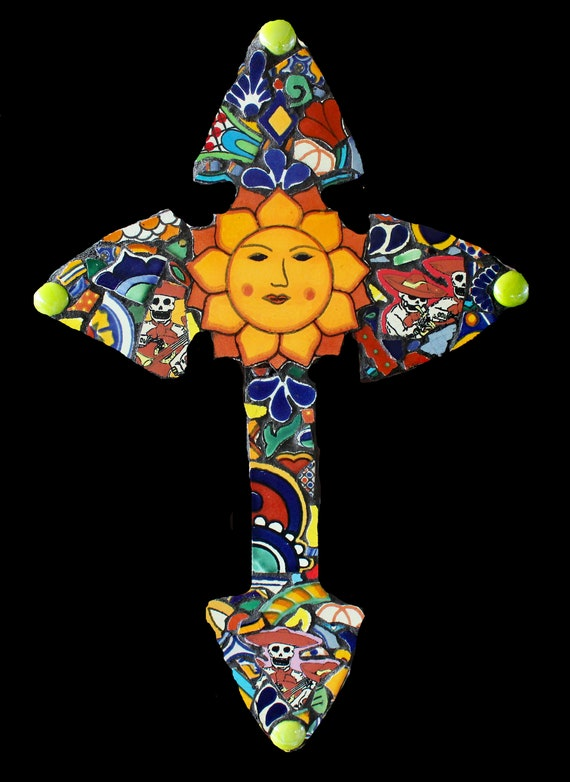 Mosaic Wall Cross Made with Mexican Talavera Tiles Day of the Dead