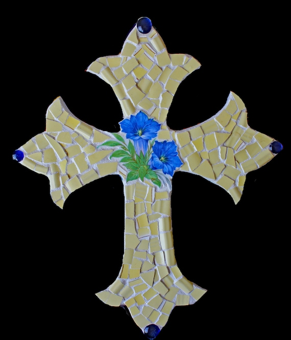 China Tile With Flowers Mosaic Wall Cross