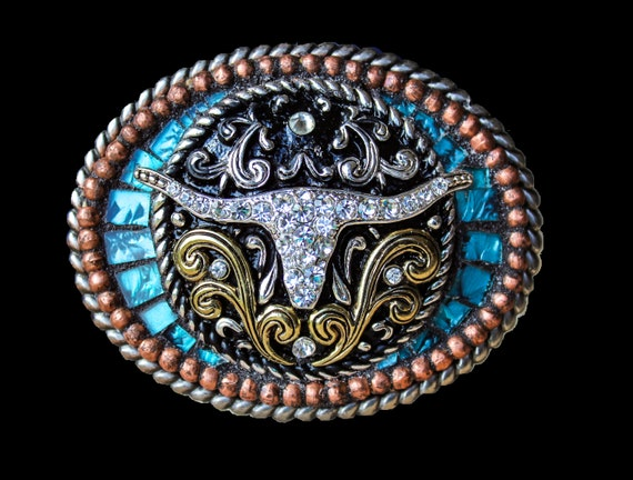 Western Rhinestone Longhorn Mosaic Belt Buckle with Van Gogh Glass