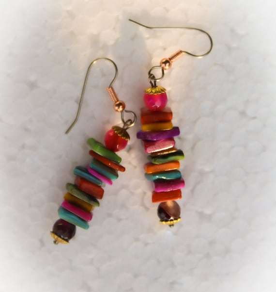 Colorful Dyed Mother of Pearl and Glass Bead Dangle Drop Boho Hippie Earrings