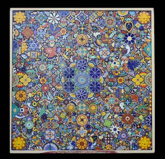 38 Inch Custom Mosaic Table or Wall Hanging Made With Talavera Tiles