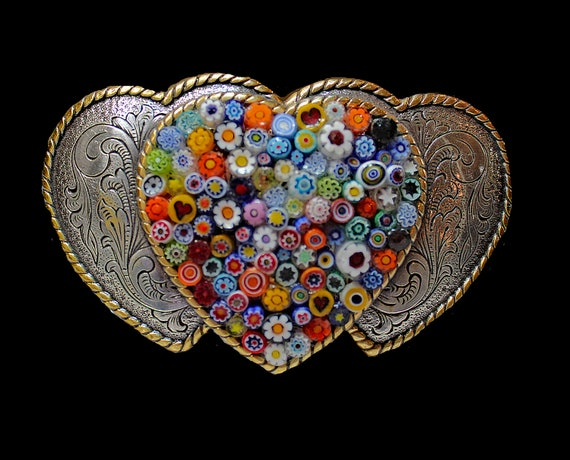 Triple Heart Belt Buckle with Italian Millefiori