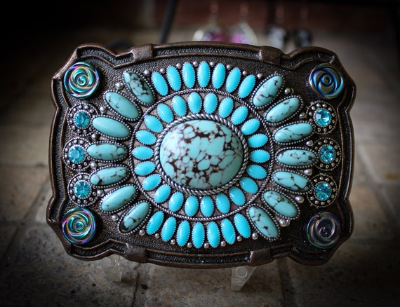Unisex Southwestern Western Native American Style Belt Buckle with Faux Turquoise