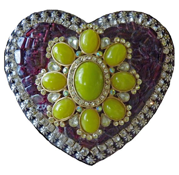 Mosaic Western Heart Belt Buckle with Genuine Garnet, Faux Jade and Rhinestones