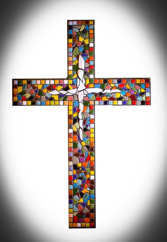 Large Ceramic Tile Mosaic Wall Cross