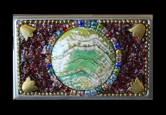 Embellished  Business Card Case with Garnet Gemstones and Sea Sediment Jasper