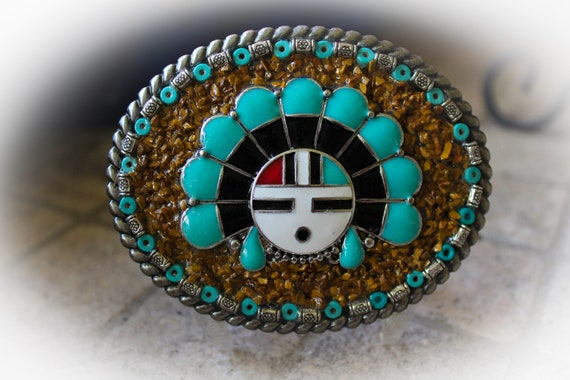 Southwestern, Western, Native American Style Zuni Sun God Mosaic Belt Buckle with Faux Turquoise and Crushed Jasper