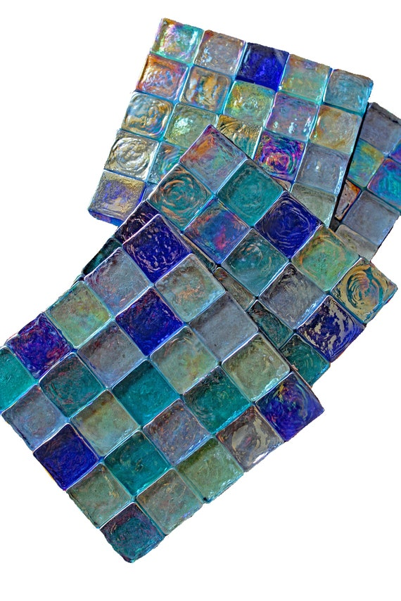 Colorful Beachy Mosaic Ceramic Tile Coasters 4 or 6 Candle Holers