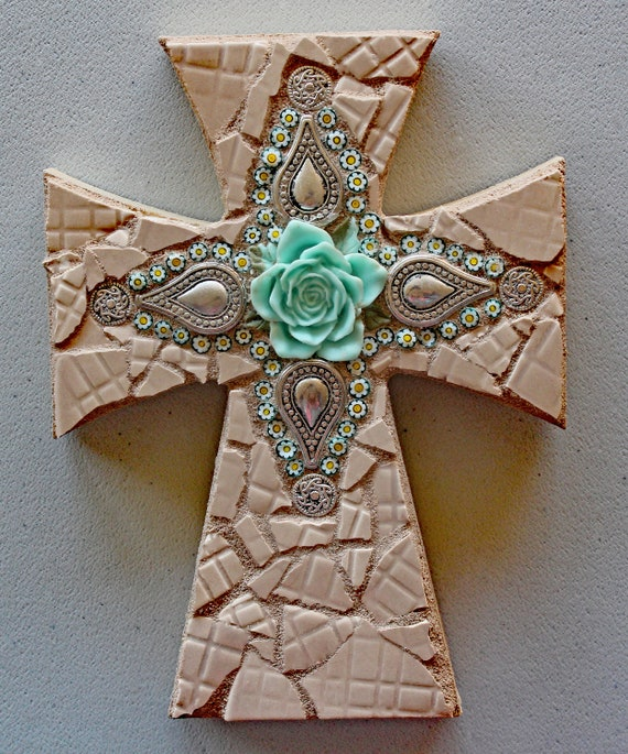 Mosaic Cross with Turquoise Rose and Italian Millefiori