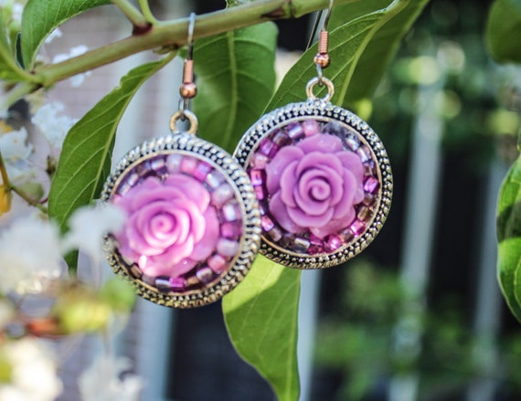 Lovely Lilac Rose Earrings
