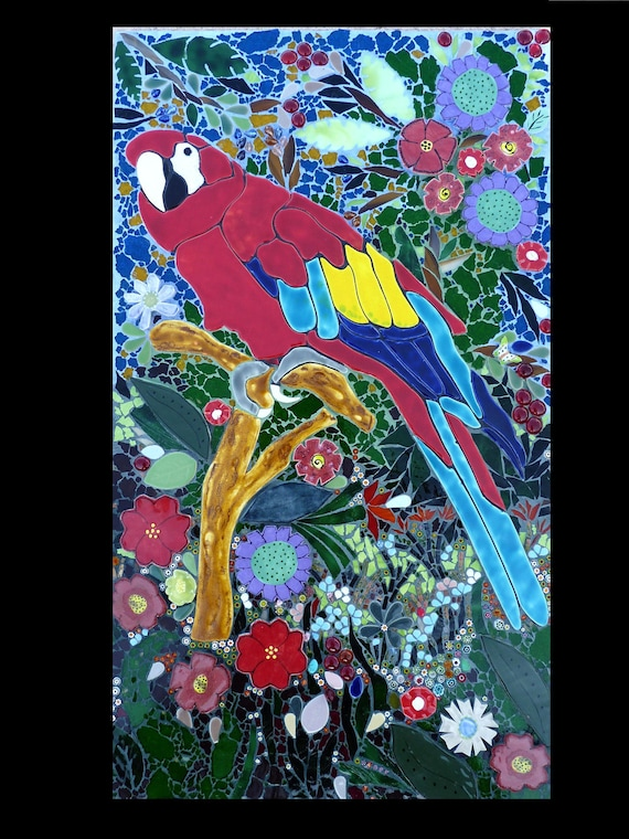 Scarlet Macaw Mosaic Wall Hanging, Tropical Decor, Parrot Mosaic