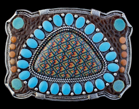 Unisex Western Southwestern Native American Style Mosaic Belt Buckle with Faux Turquoise