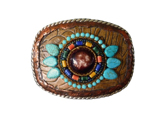 Western Southwestern Beaded Rhinestone and Leather Belt Buckle with Turquoise Howlite