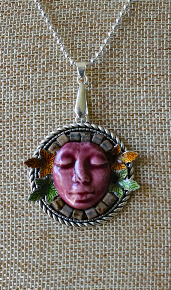 Forest Spirit Ceramic Mosaic Pendant Necklace