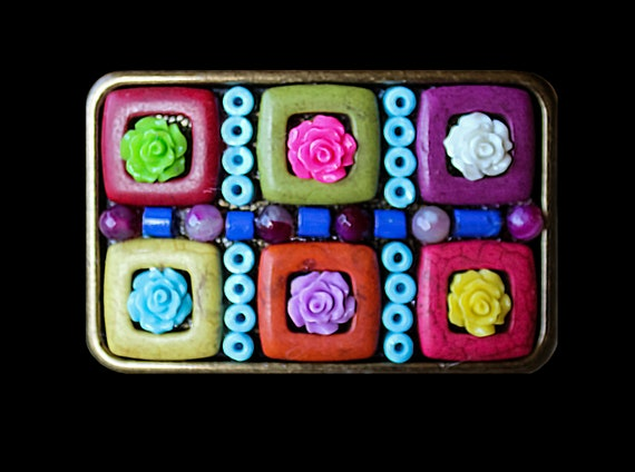 Fun and Funky Boho Hippie Mosaic Belt Buckle with Roses