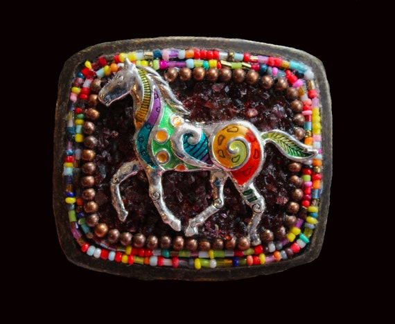 Colorful Enameled Prancing Horse Western Mosaic Belt Buckle with Genuine Garnet Gemstones