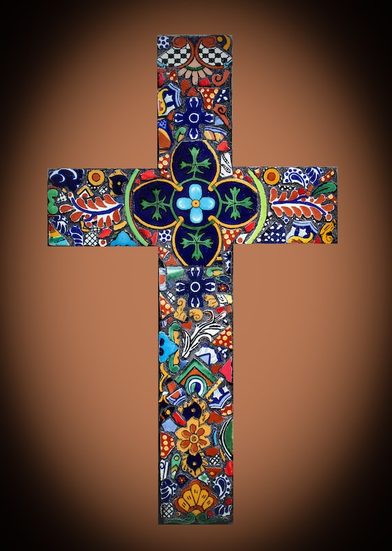 Mexican Southwestern Wall Cross Made with Talavera Tiles Ready to Ship