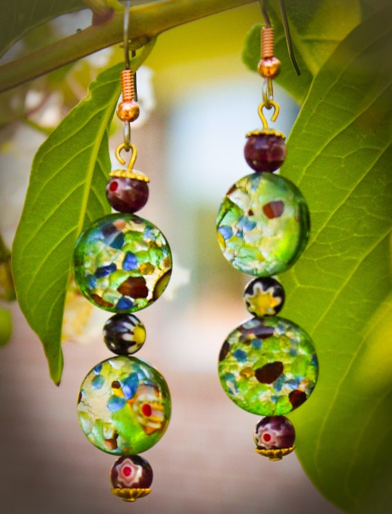 Murano Glass Lampwork Millefiori Dangle Earrings