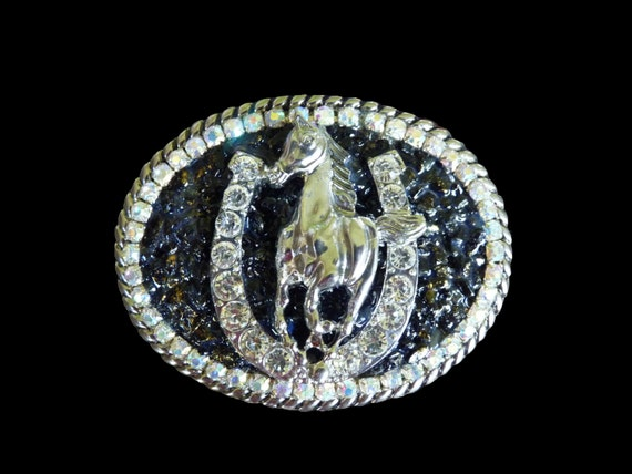 Women's Horse and Rhinestone Horseshoe Belt Buckle with Genuine Black Tourmaline Gemstones