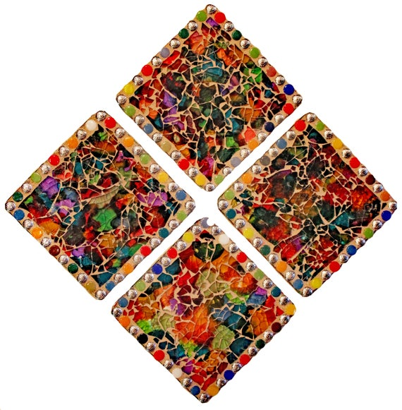 Abstract Mosaic Coasters Made with Alcohol Ink and Tempered Glass--Set of 4