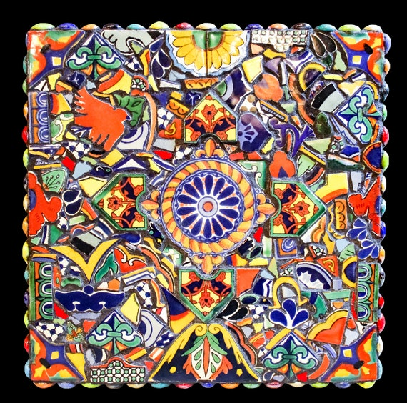 Mosaic Wall Hanging or Trivet Made From Mexican Talavera Tiles