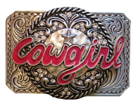 Western Cowgirl Belt Buckle with Rhinestones