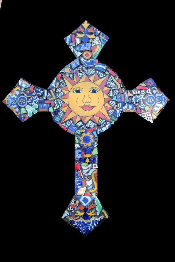 Cheerful and Sunny Mexican Tile Mosaic Wall Cross
