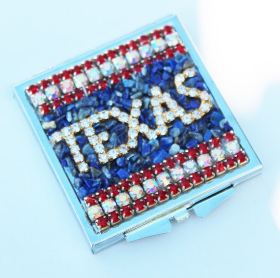 Rhinestone and Lapis Texas Mosaic Square Double Mirror Compact