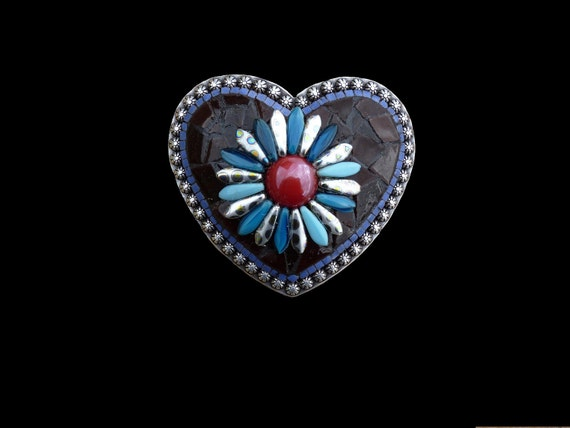 Mosaic Heart Belt Buckle with Czech Glass Peacock Dagger Beads
