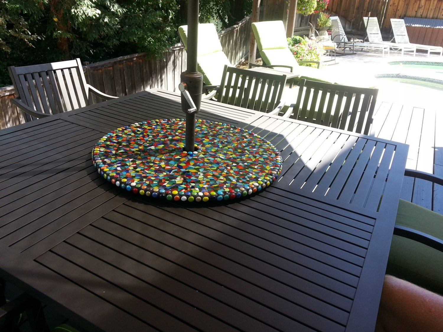 Large Mosaic Stained Glass Outdoor Patio Table Lazy Susan