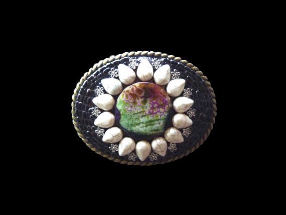 Gemstone Belt Buckle with Dragons Vein Agate and White Howlite, Mosaic Belt Buckle