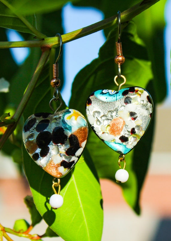 Lampwork Glass Heart Shaped Dangle Earrings
