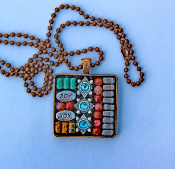 Mosaic Joy Pendant Necklace with Rhinestones