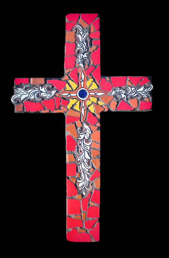 Rustic Southwestern Style Mosaic Wall Cross Made with Talavera Tiles