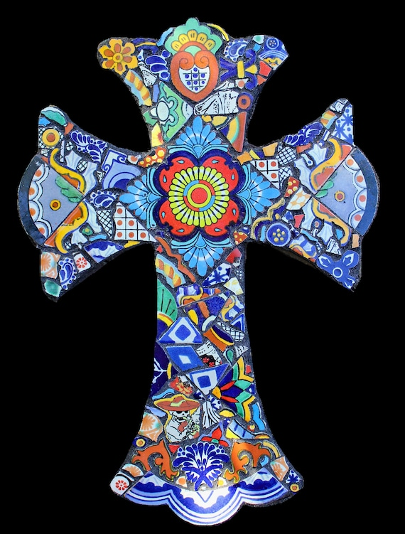 Mexican Tile Mosaic Wall Cross