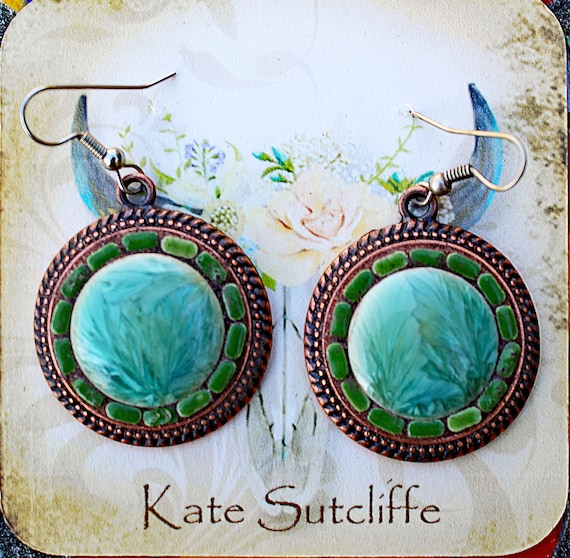 Mosaic Earrings in Shades of Green in Antique Bronze Setting