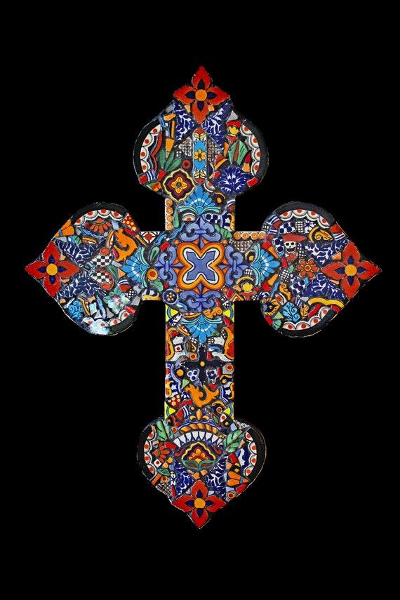 Large Mosaic Wall Cross Made with Talavera Mexican Tiles Southwestern Decor, Boho Decor, Eclectic Decor Ready to Ship