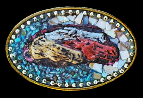 Racing Horses Belt Buckle with Genuine Turquoise and Mother of Pearl