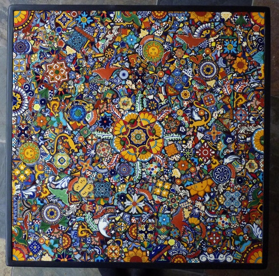 30 Inch Custom Mosaic Table or Wall Hanging Made With Talavera Tiles