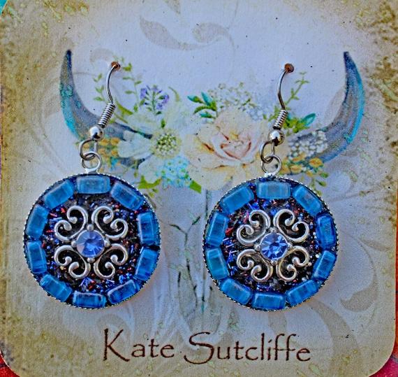Mosaic Earrings in Blue with Blue Rhinestone