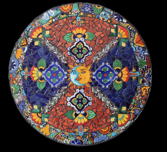 Southwestern Mexican Mosaic Lazy Susan Made with Talavera Tiles