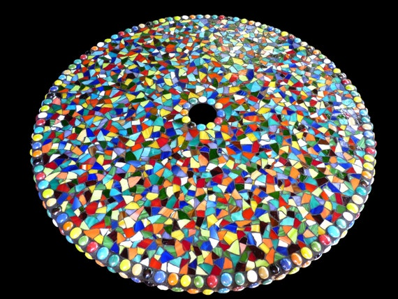 Large Mosaic Stained Glass Outdoor Patio Table Lazy Susan Custom Order
