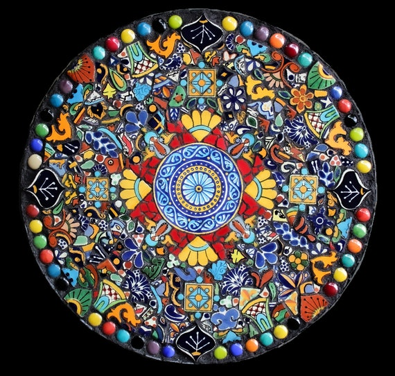 Mosaic Bright and Cheerful Kitchen Lazy Susan Made with Talavera Tiles--16 Inches Ready to Ship