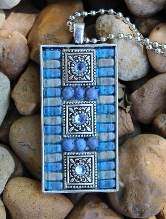 Denim Blue Mosaic Pendant Necklace in Glass and Rhinestones