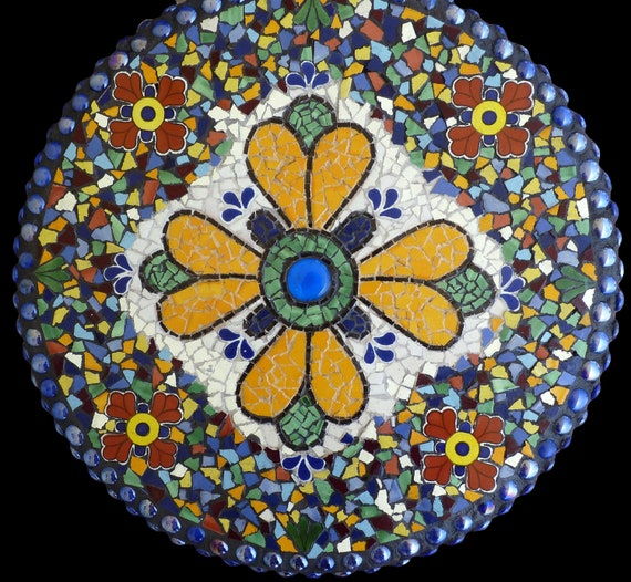 Mosaic Lazy Susan, Wall Medallion, or Table Top Made with Talavera Tile Choose Your Colors